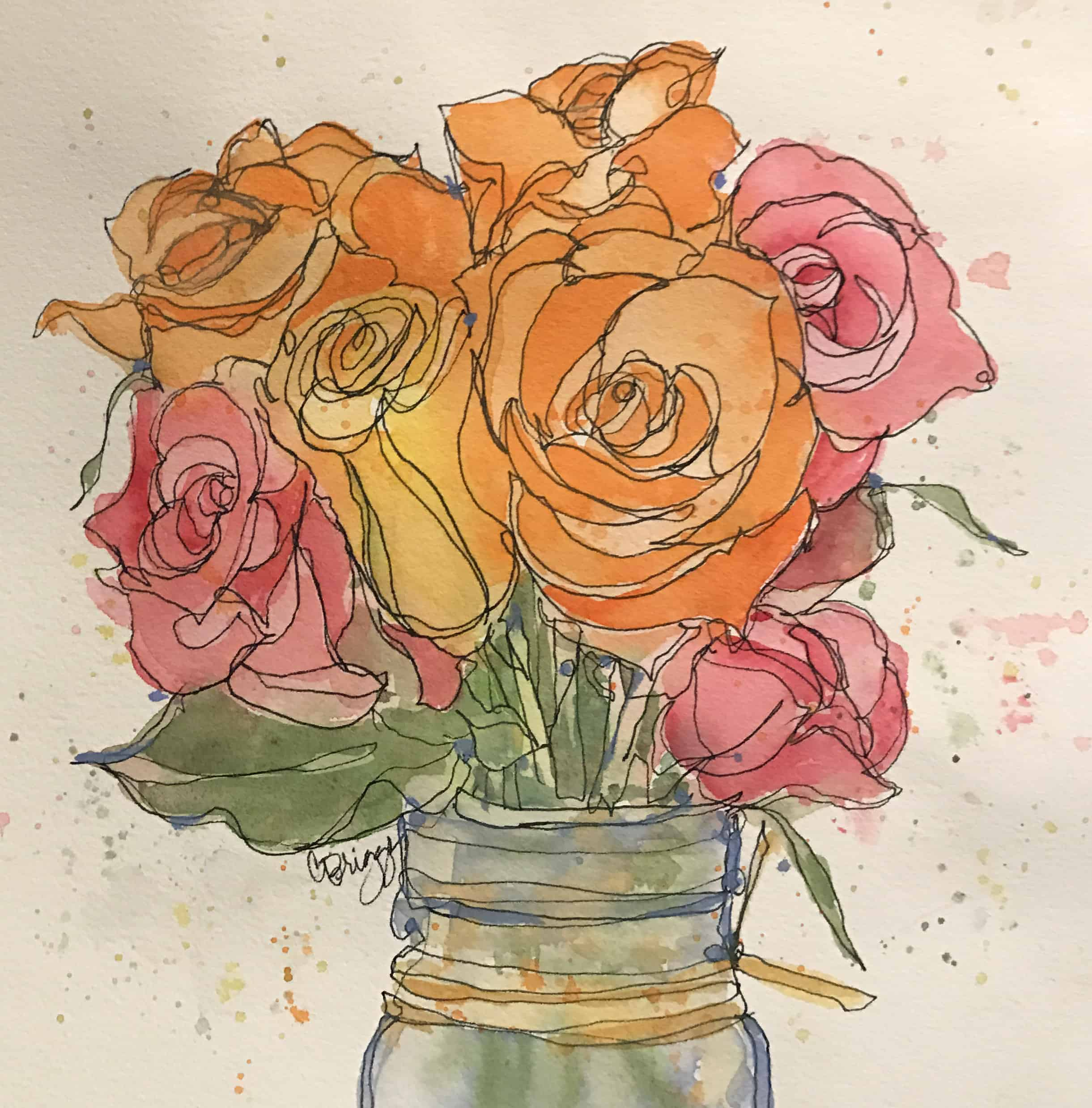 Yellow, Roses in Pink, Yellow & Orange