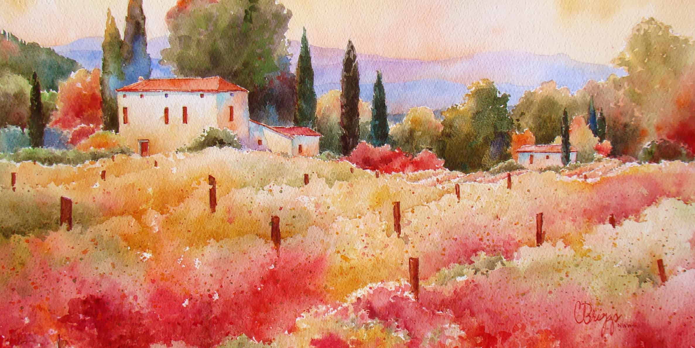 Val di Vineyard Watercolor Painting, Val di Vineyard Watercolor Painting
