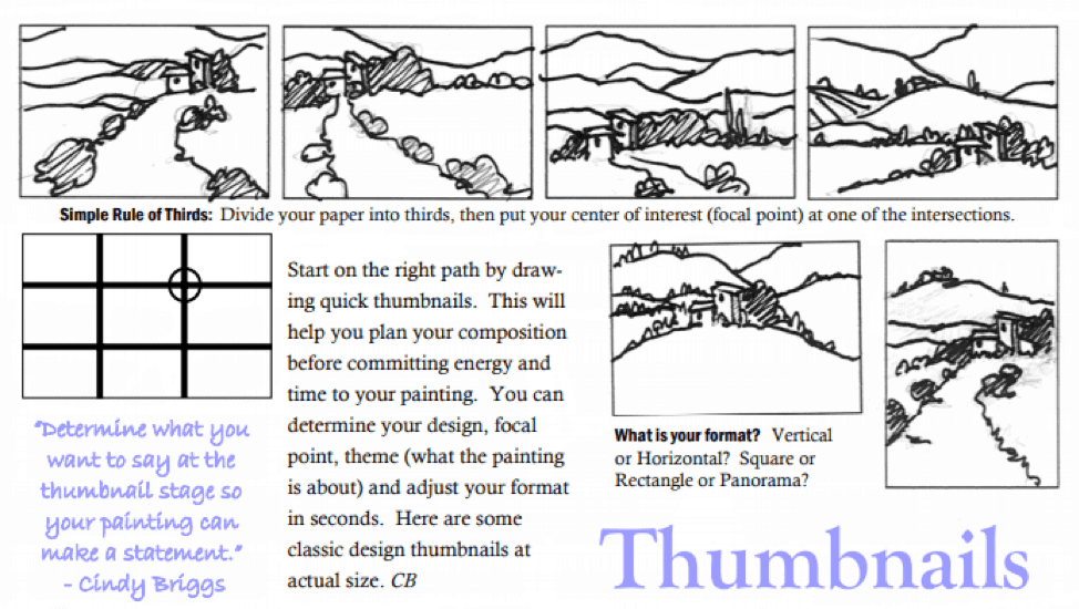 Starting with Watercolors—Inspiration Thumbnails