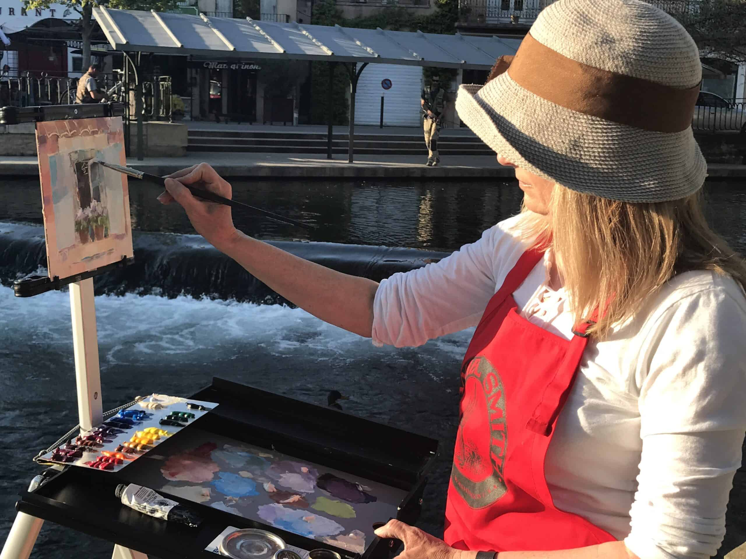Cindy painting oils in Provence